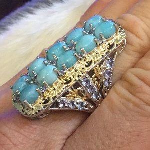 Larimar, Tanzanite Gold Sterling Silver Large Ring